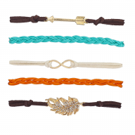Gold Tone Earthy Boho Arrow Infinity Arm Candy Bracelet Set 5PC