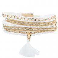 Gold Tone Chain Rhinestone White Fabric Magnetic Wrap Bracelet
