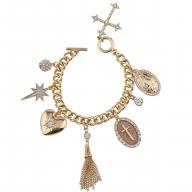 Gold Tone Sticker Glitter Religious Cross Multi Charm Bracelet
