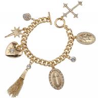 Gold Tone Faux Rhinestone Religious Cross Multi Charm Bracelet