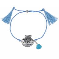 Silver Tone Blue Cord Real Life Mermaid Tassel Strand Bracelet
