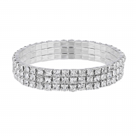 Silver Tone Triple Row Cupchain Rhinestone Stretch Bracelet