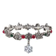 Silvertone Christmas Holiday Snowflake Charm Stretch Bracelet