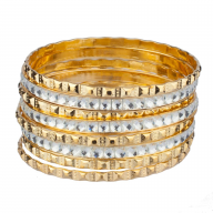 Bridal Studded Pyramid Textured Rhinestone Bangle Set (8 PC).