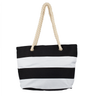 Womens Extra Large Zip Up Beach Tote Bag Black White Line