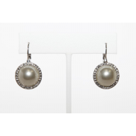 Faux Faux Pearl Rhinestone Drop Dangle Earrings