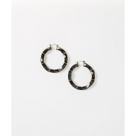 Black Facet Hoop Earrings