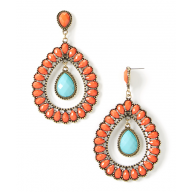 Coral Turquoise Inset Teardrop Earrings