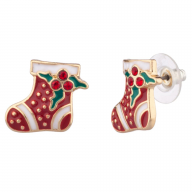 Christmas Stocking Mistletoe Red Xmas Stuff Earrings