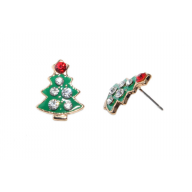 Christmas Green Tree Xmas Pave Stud Earrings
