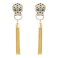 Gold Tone Jaquar Head Pave Rhinestone Chain Tassel Earrings