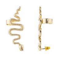 Gold Tone Snake Serpent Post Stud Ear Climber Ear Cuff Earring