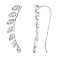 Silver Tone Faux Rhinestone Leaf Ear Cuff Ear Creepers