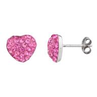 Silver Tone Pink Faux Pave Rhinestone Novelty Stud Earrings