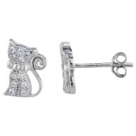 Silver Tone Pave Rhinestone Cat Kitten Novelty Stud Earrings