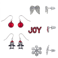 Silver Tone Christmas Holiday XMas Novelty Multi Earring Set 5PC