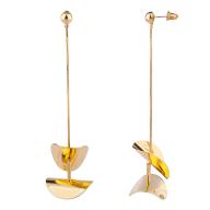 Gold Tone Art Deco Geo Snake Chain Dangle Earrings