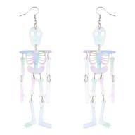White AB Skeleton Body Halloween Dress Up Dangle Earrings