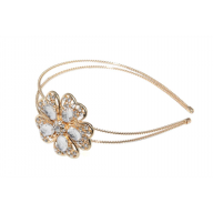 Opulent Gold and White Flower Wire Headband
