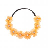 Stretch Fit Floral Headband Head Crown Flower Crown Head Piece Tangerine