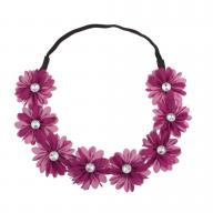 Stretch Fit Floral Headband Head Crown Flower Crown Head Piece Purple Magenta