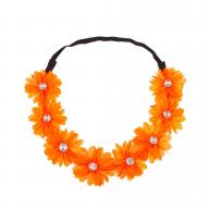 Stretch Fit Floral Headband Head Crown Flower Crown Head Piece Neon Orange