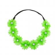 Stretch Fit Floral Headband Head Crown Flower Crown Head Piece Neon Green
