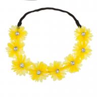 Stretch Fit Floral Headband Head Crown Flower Crown Head Piece Bright Yellow