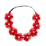 Stretch Fit Floral Headband Head Crown Flower Crown Head Piece Ruby Red