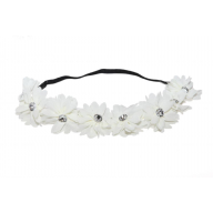 Lux White Fabric Flower Rhinestone Stretch Headband Chiffon Floral Head Band