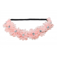 Lux Peach Pink Fabric Flower Rhinestone Stretch Headband Chiffon Floral Head Band