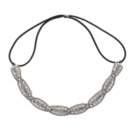 Hematite Braided Mesh Crystal Rhinestone Stretch Headband