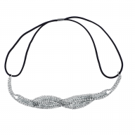 Silver Tone Braided Mesh Crystal Rhinestone Stretch Headband