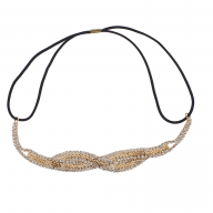Gold Tone Braided Mesh Crystal Rhinestone Stretch Headband