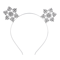 Silver Tone Christmas Holiday Snowflake Cat Ear Headband
