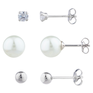 Silver Tone Occasion Pearl Ball Rhinestone Multi Earring Set 3PR