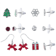 Silver Tone Red Green Crystal Christmas Xmas Holiday Earring Set