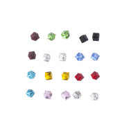 Silver Tone 3-D Square Cube Rhinestone Earring Multi Pack Set
