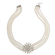 Faux Pearl Flower Sun Star Pave Multi Row Statement Necklace