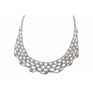 Multi Row Rhinestone Statement Chain Necklace