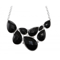 Faceted Black Teardrop Gemstone Rhinestone Bib Statement Chain Necklace