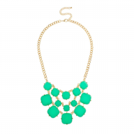Green Stone Bib Statement Necklace