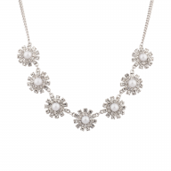 Bridal Pave Crystal Flower Faux Pearl Statement Necklace