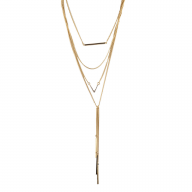 Goldtone Layered Multi Row Geo Bar Pave V Lariat Y Necklace