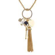 Gold Tone Heart Key Cluster Charm Chain Tassel Pendant Necklace