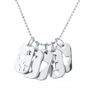 Silver Tone Cutout Celestial Mini Dog Tag Charm Pendant Necklace