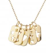 Gold Tone Cutout Celestial Mini Dog Tag Charm Pendant Necklace