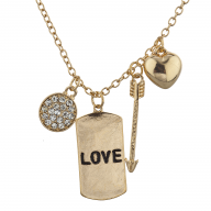 Gold Tone Love Dog Tag Assorted V Day Charm Pendant Necklace
