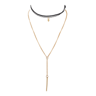 Gold Tone Geo Layered Delicate Choker Sexy-Y Lariat Necklace