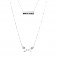 SilverTone Wherever it Points Double Row Inspirational Necklace